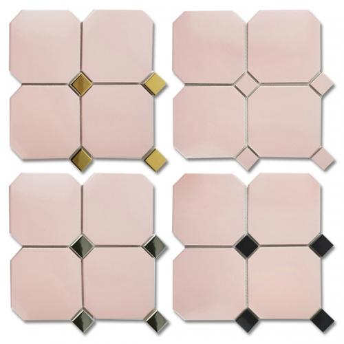 [무료배송]옥타곤 팔각모자이크타일 150mm 핑크 주방 현관 욕실