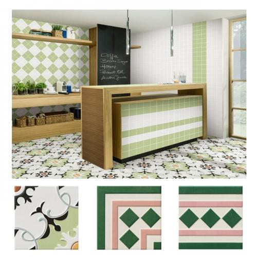 북유럽 패턴타일 200mmx200mm (2094) 자기질타일 주방 현관 욕실 포인트타일 벽 바닥타일