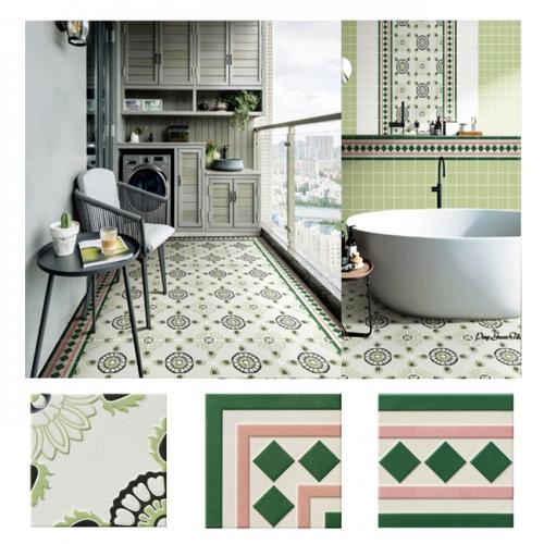 북유럽 패턴타일 200mmx200mm (2096) 자기질타일 주방 현관 욕실 포인트타일 벽 바닥타일