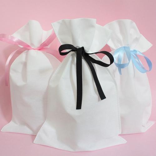 흰색부직포 리본 복주머니 60g/3색 답례품 포장