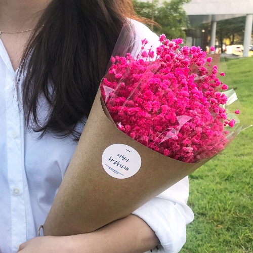 프리저브드 안개꽃 꽃다발/라지사이즈 큰꽃다발 드라이플라워 레인보우