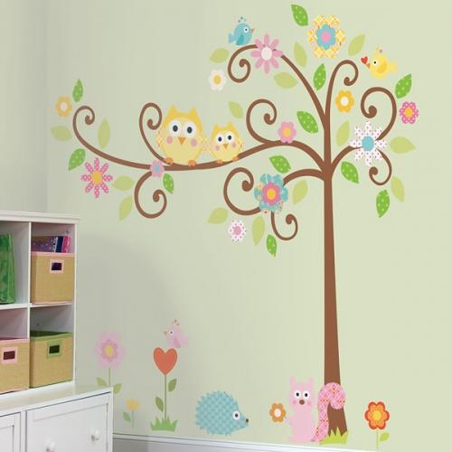 [룸메이츠] 부엉이와 꽃 나무(RMK1439SLM)
