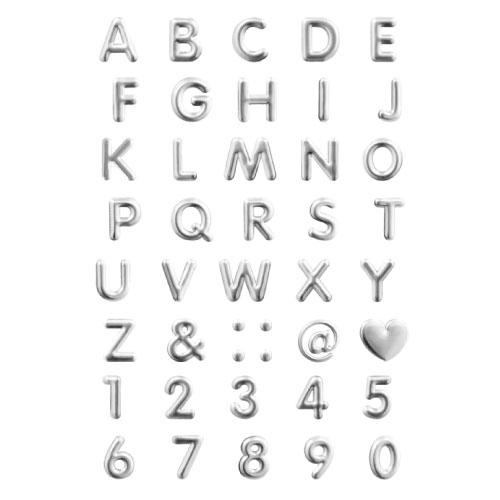 4803 - 스티커 이니셜 은색 돌출 입체 숫자 영문 특수문자