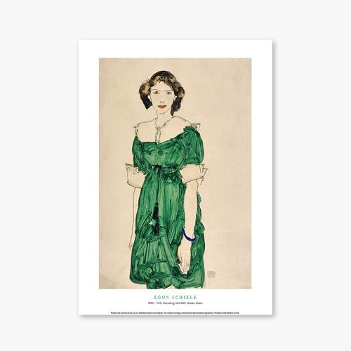 [명화포스터] Standing Girl With Green Dress - 에곤 실레 029