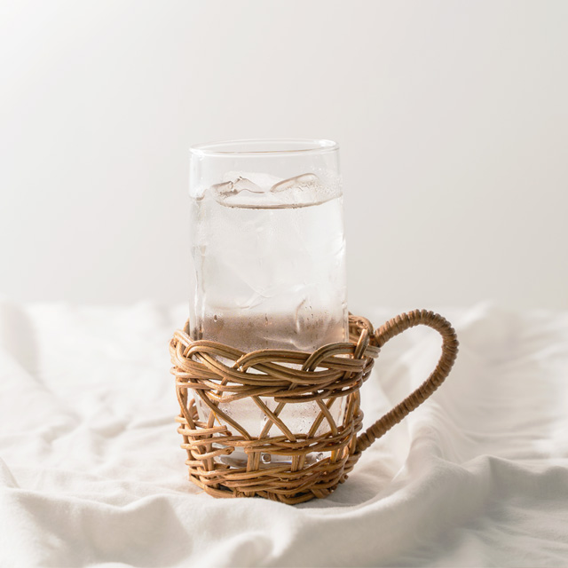 라탄 컵홀더 빈티지컵