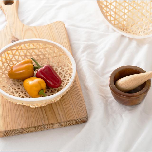 대나무 라탄 원형 채반 튀김그릇 트레이 2P세트