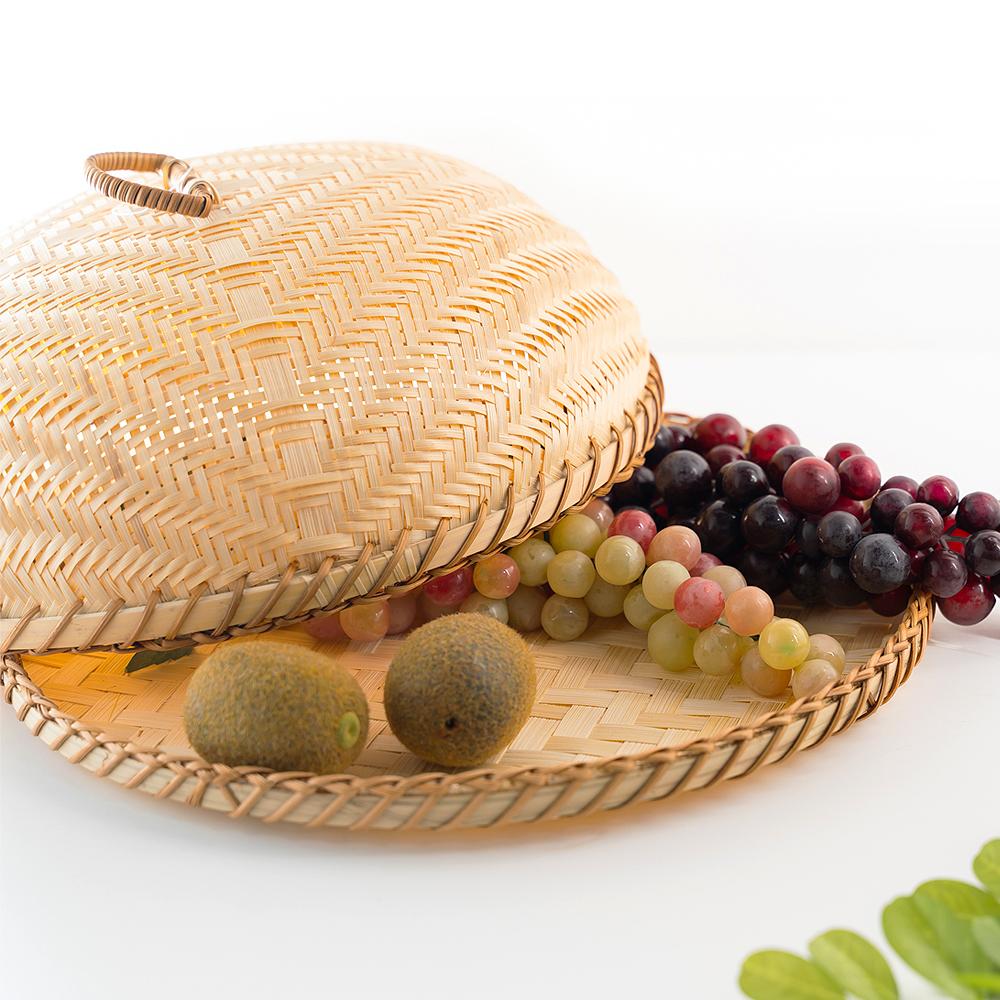 라탄 대나무 뚜껑 채반 음식보관함 덮개