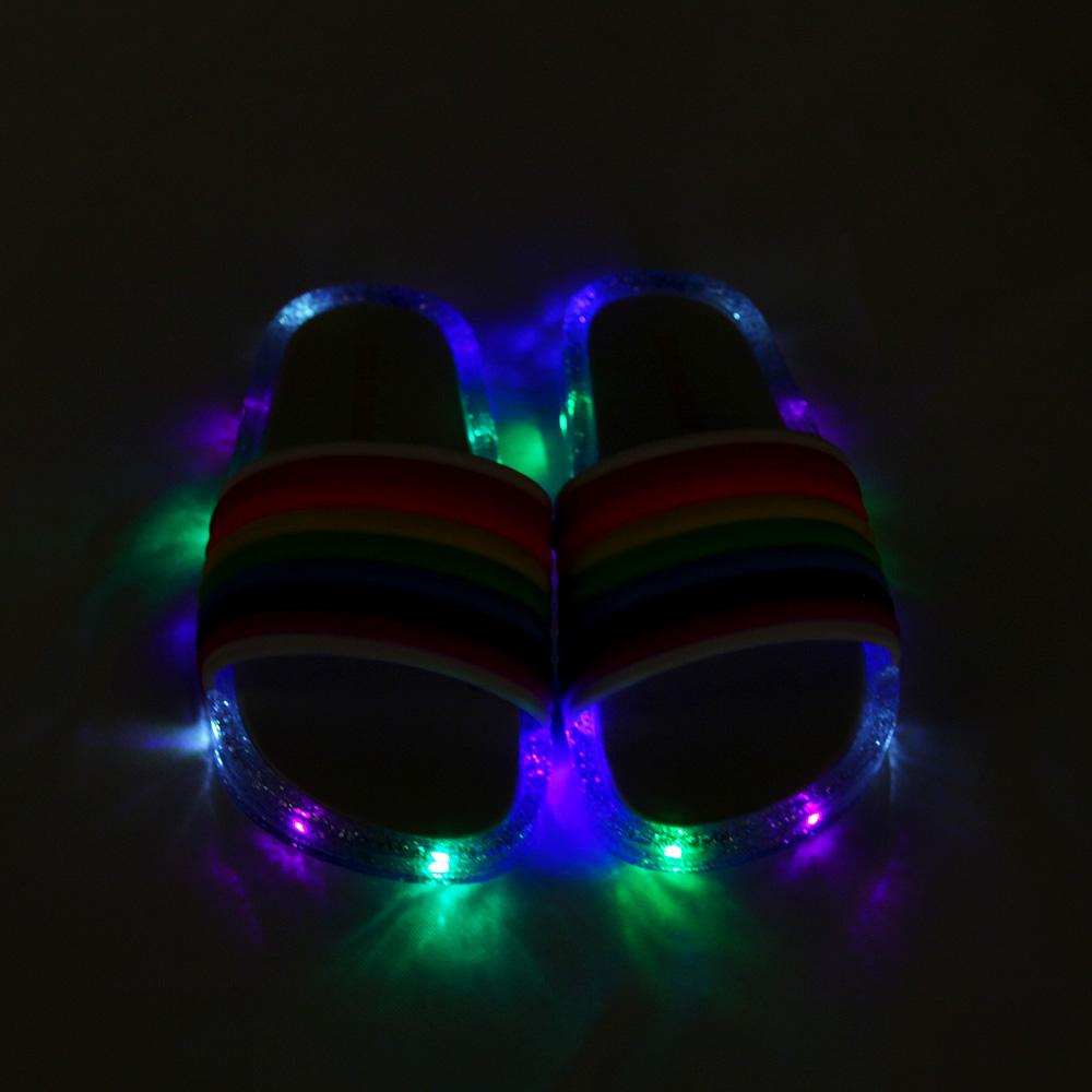 무지개 유아 아동 LED 슬리퍼 미끄럼방지 슬리퍼 4size