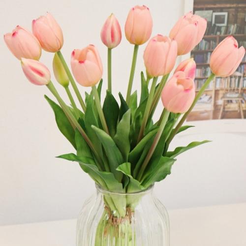 로맨틱 핑크 튤립 묶음 - 인테리어조화 실크플라워