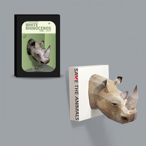 [해피페이퍼] 흰코뿔소(인테리어 크래프트_mini)