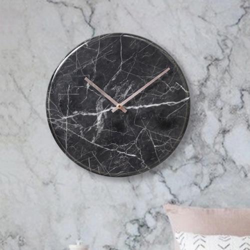 대리석라운드벽시계-블랙