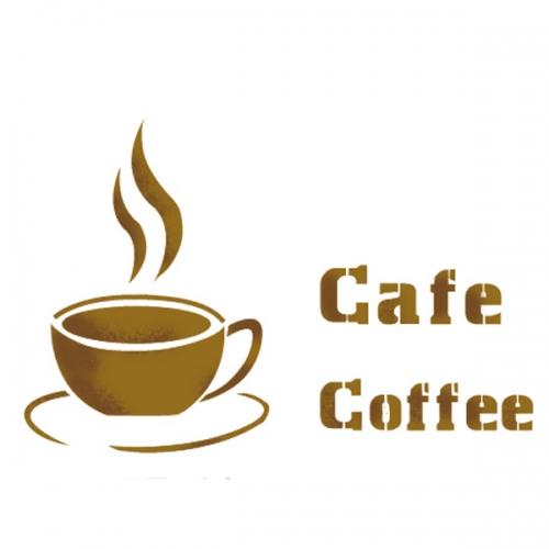 스텐실 도안(ST-2017) 커피한잔