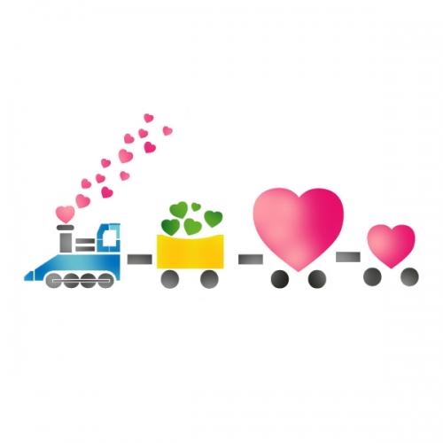 스텐실 도안(ST-2071) 사랑 기차