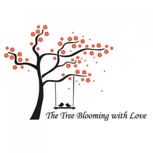 벽화스텐실 도안(MF-1503) 사랑이 꽃피는 나무