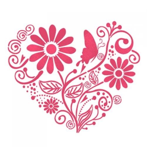 벽화 스텐실 도안(MF-1507) 사랑꽃