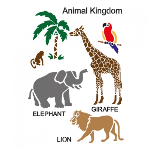 벽화 스텐실 도안(MF-2002) 동물의 왕국