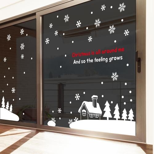 눈꽃 크리스마스 소품 그래픽스티커 눈 내리는 마을