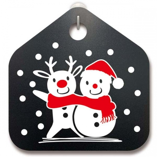 크리스마스 안내판_루돌프와 눈사람과 함께