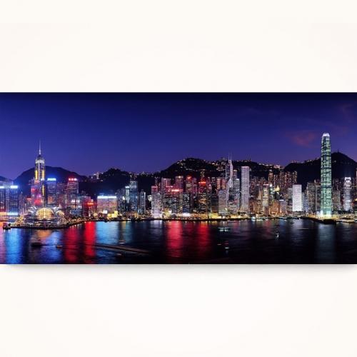 캔버스액자/CAS533 환상적인 홍콩 야경 와이드 캔버스 액자