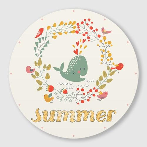 무소음 벽시계 / C046-SUMMER 고래-B