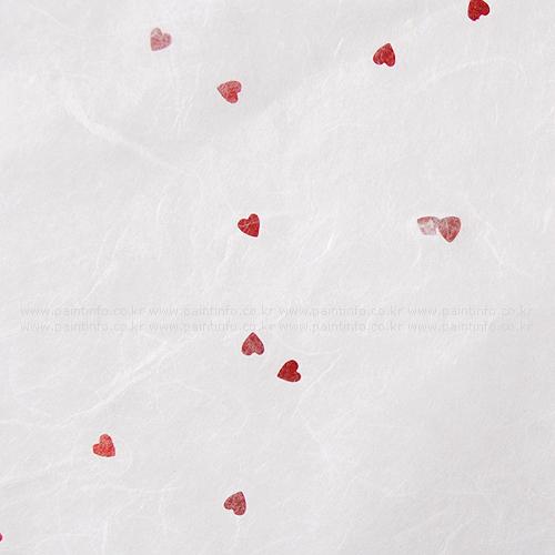 패턴한지-heart 레드