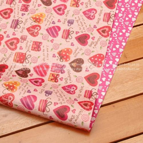 핑크하트 양면포장지