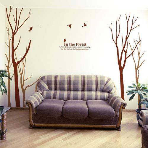 포레스트 (나무 5그루) 그래픽스티커 포인트 시트지 스티커벽지