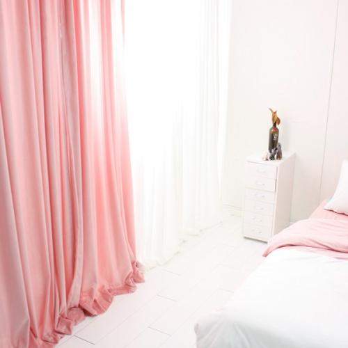 극세사 벨벳 셔링커튼- 핑크