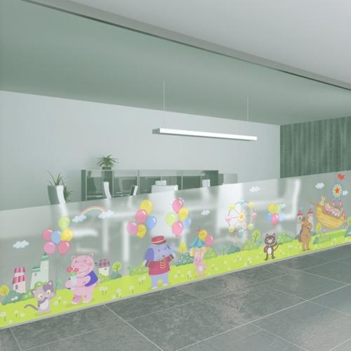dgcn460-풍선 놀이 공원-무점착 반투명 창문 시트지