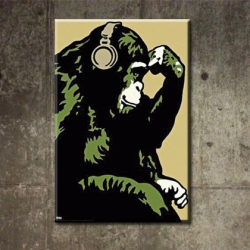 카페인테리어 캔버스액자 아트 켄버스 그림 소품 빈티지 패러디 헤드폰몽키 침팬지 m-6