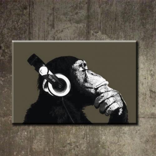 카페인테리어 캔버스액자 아트 켄버스 그림 소품 빈티지 패러디 헤드폰몽키 침팬지 m-8