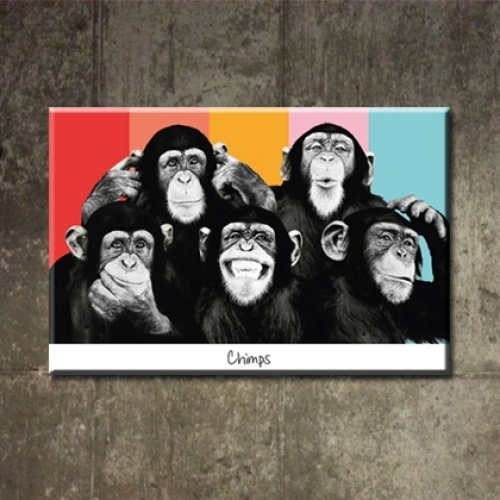 카페인테리어 캔버스액자 아트 켄버스 그림 소품 빈티지 패러디 팝아트 헤드폰몽키 침팬지 m-18