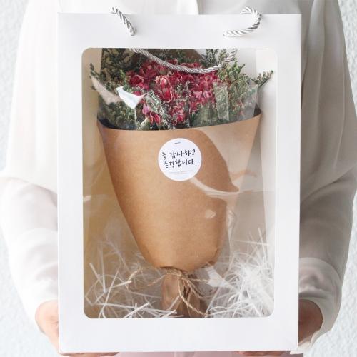 카네이션 드라이플라워 큰꽃다발 쇼핑백 세트/라지 어버이날 스승의날 꽃