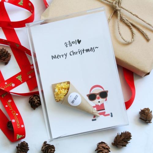 프리저브드 꽃다발 크리스마스 엽서/이색 성탄절 산타 카드 드라이플라워