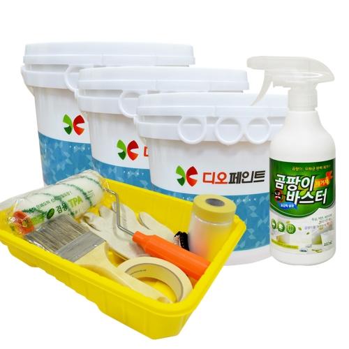 [베란다리폼세트] 결로/곰팡이방지페인트 세라믹플러스 4L, 3개 +도구세트 + 곰팡이제거제