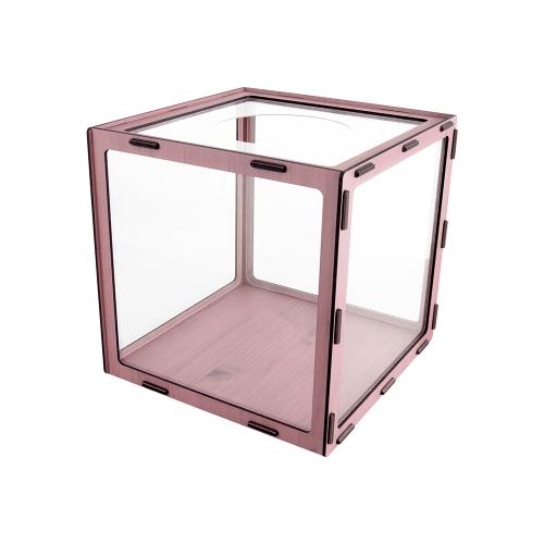 0719 - 응모함 250 우드 분홍 박스 상자 조립형