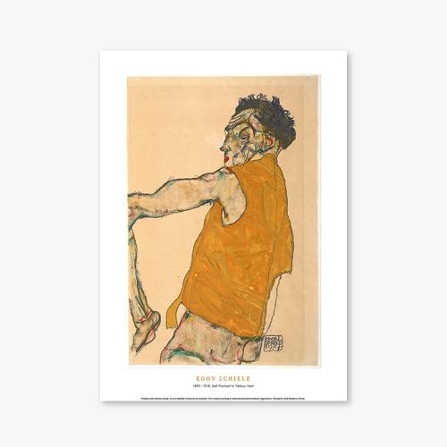 [명화포스터] Self Portrait In Yellow Vest - 에곤 실레 023
