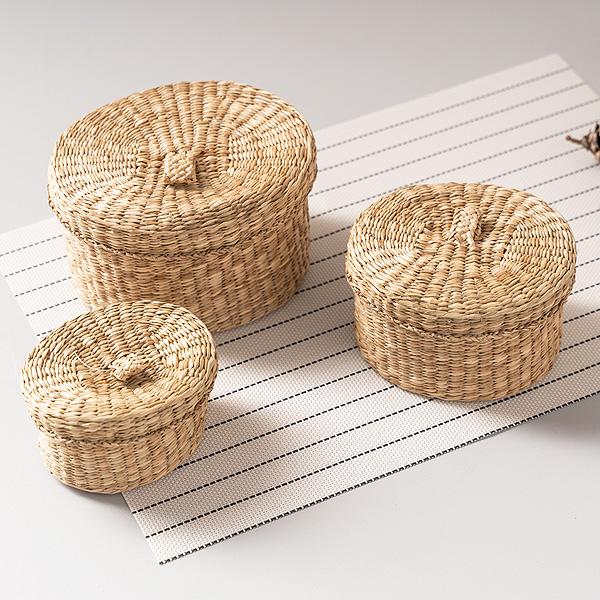 라탄 바구니 왕골 해초 원형 바스켓 수납함 (3P_Set)