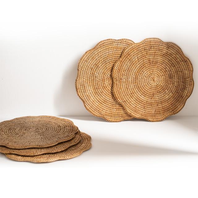 라탄 웨이브 라운드 테이블 매트 플레이트 트레이 접시