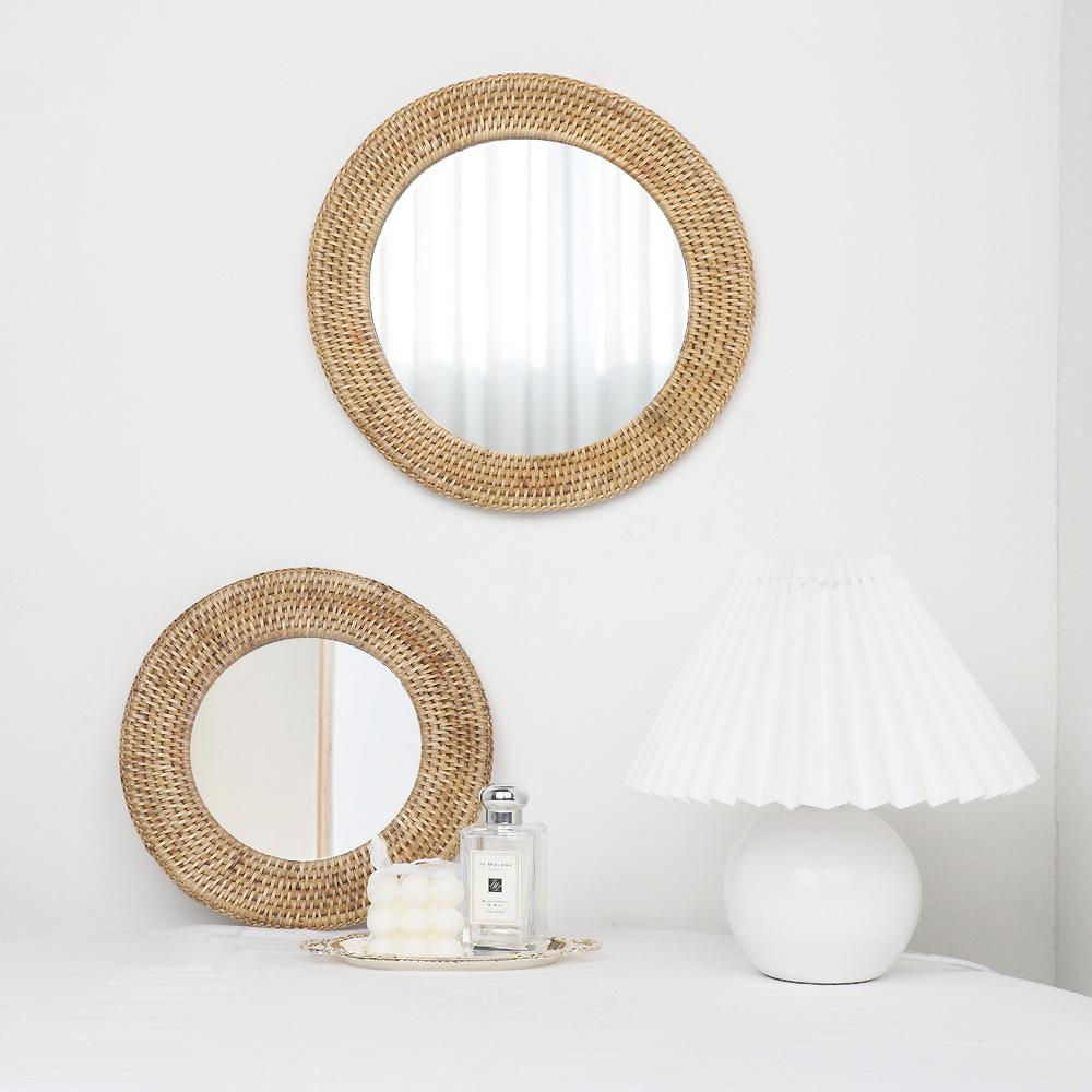라탄 원형 거울 인테리어 화장대 욕실 벽걸이(2size)
