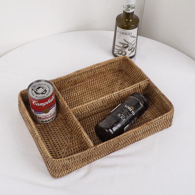라탄 3칸 카페 수저통 수납 바스켓 바구니 칸막이 화장대정리