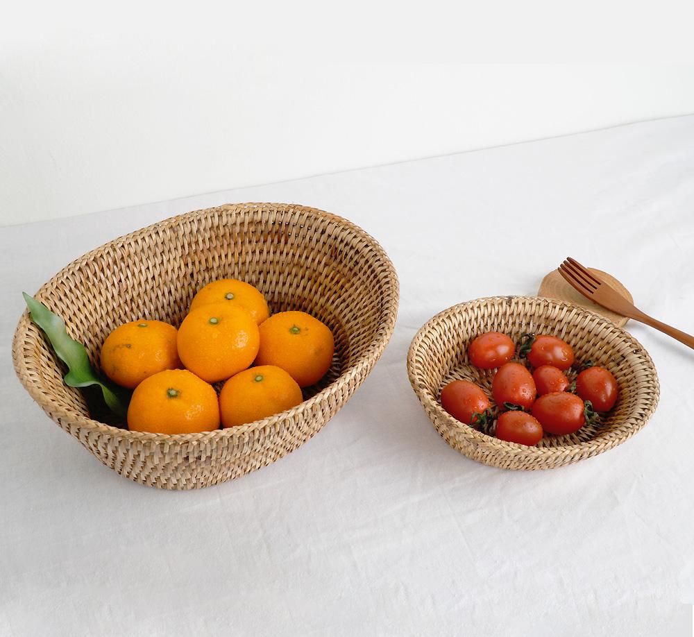 라탄 와이드 빵 과일 바스켓 소품 바구니 (2P)-1set