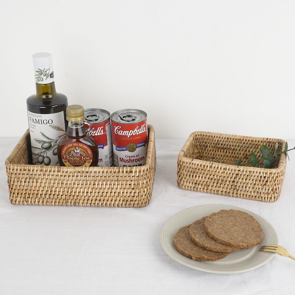라탄 직사각 수납박스 바구니 바스켓 빵 과일 주방소품정리 (2P)-1set
