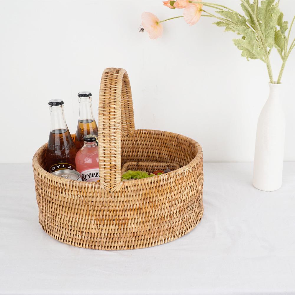 라탄 타원형 피크닉 바구니 다용도 소품 수납함 빵 과일 바스켓