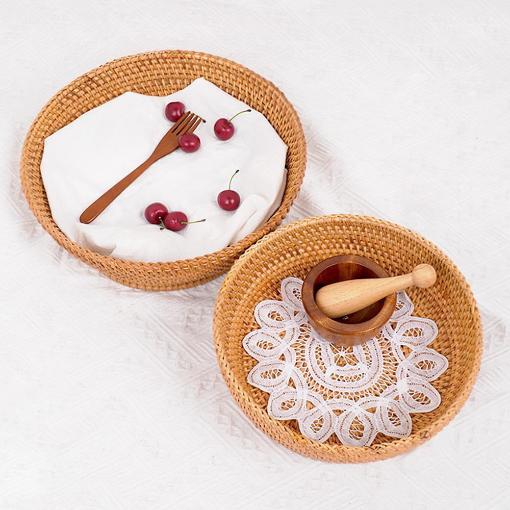 라탄 원형 다리 과일 바구니 바스켓 디저트 빵 트레이(2P)-1Set