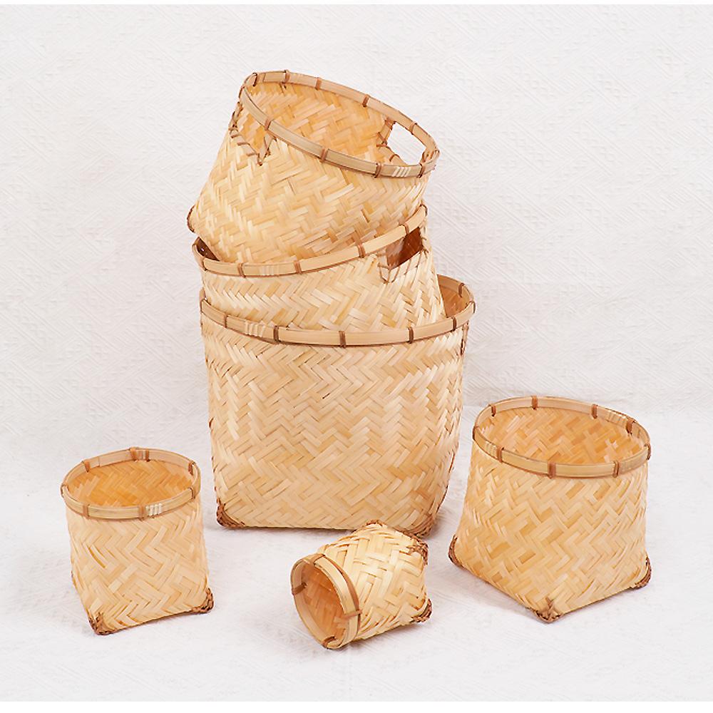 대나무 화분 다용도 수납 바구니 라탄 바스켓 빨래 정리함(6P)-1Set