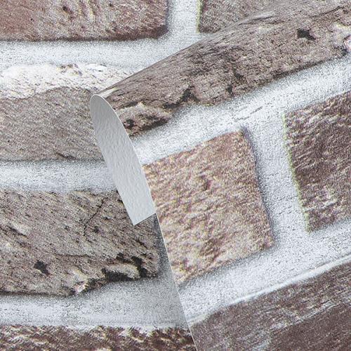 (특가판매) 만능풀바른벽지 합지 H1050-2 네추럴브릭 레드브라운