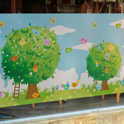 고급칼라안개시트_행복한 나무와 새들