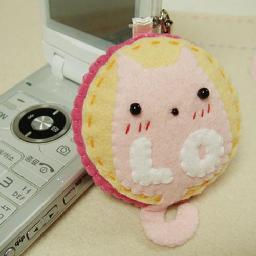 러브캣 커플휴대폰줄-핑크