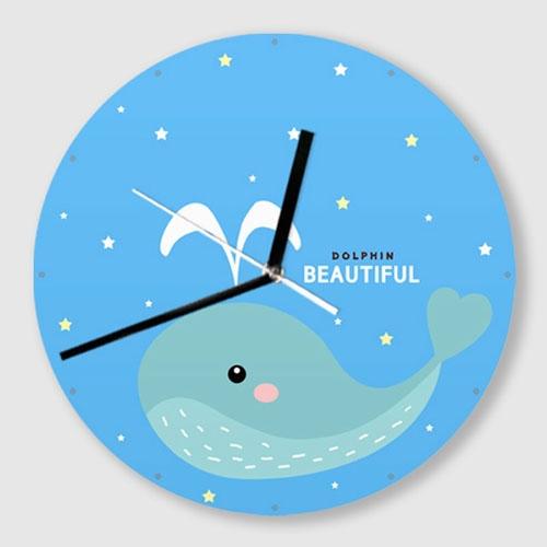 무소음 벽시계 / C011-귀여운 캐릭터-돌고래-B